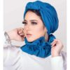 Trendy Two-Piece Ready-To-Wear Ball Jeans Turban with Collar Set for Women in Jeans Fabric