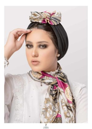 2-Piece Women's Front Fan Deisgn Black Turban Cap with Printed Scarf Set in Soft Crepe Fabric