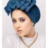 Women's Triple Bow Turban Cap in Jeans Fabric Ready-to-Wear Modest Fashion Head Wear